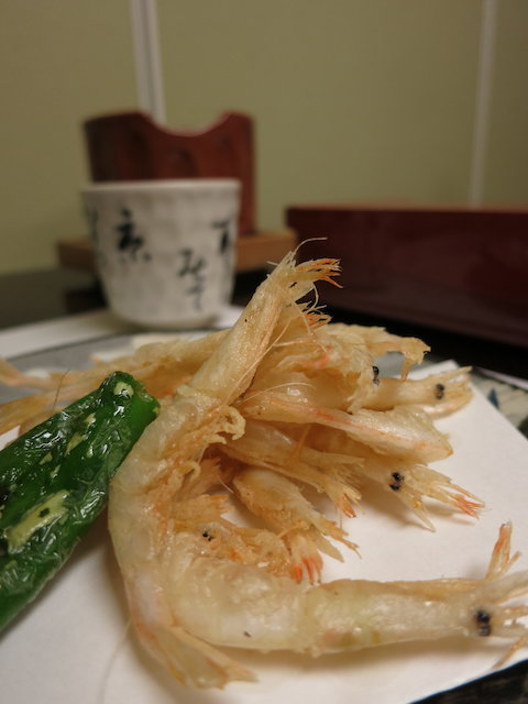 shiroebi (white shrimp) fried whole with shishito peppers, aonori salt on the side