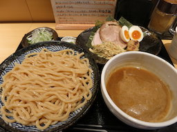 amazing tsukemen at Michi in Kameari, the broth was still boiling in the bowl
